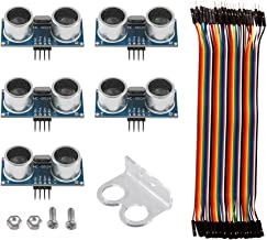 5Pack Ultrasonic Module HC-SR04 Distance Sensor + 1 HC-SR04 Mounting Bracket + 40pin Male to Female Jumper Wires for Arduino UNO MEGA R3 Mega2560 Duemilanove Nano Raspberry Pi3 Robot K18 XBee ZigBee