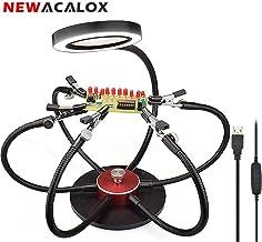 R TOOGOO Nuevo 3.5x12x 3er Lupa de lente soporte de hierro LED de soldadura aumento de mano auxiliar