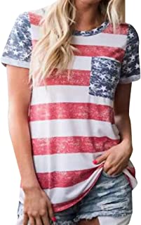Ladies Shirt Independence Day Tops Striped Print T-Shirt Sleeveless Top Casual Blouse Women Short Sleeve T-Shirt