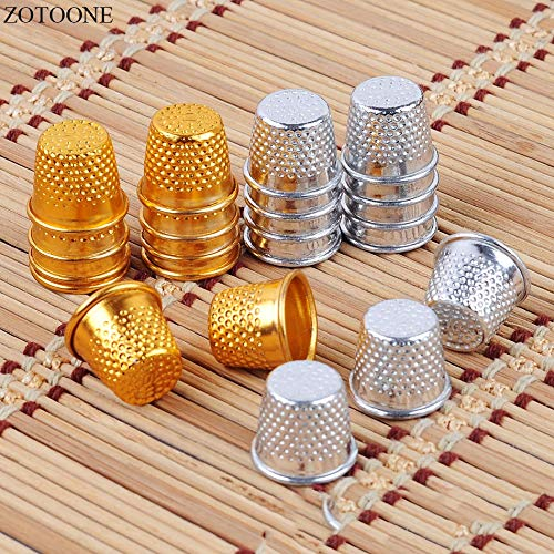 Review 10pcs Silver Gold Color Sewing Thimbles Metal Finger Protector Tools DIY Craft Accessories (C...