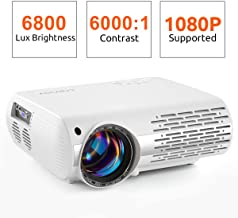 Crenova Video Projector, 6800 Lux Home Movie Projector, 200'' Display HD LED Projector 1080P Supported, Work with PC, Mac, TV Stick, HDMI, USB for Home Theater Projector