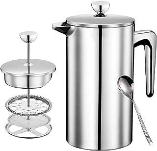 フレンチプレス エアロプレス フレンチプレス コーヒー コーヒープレス コーヒー プレス 紅茶 ポット アメリカンプレス フレンチプレスコーヒー french press ステンレス ダブルウォール 二重構造 手動式 (銀-700-FR)
