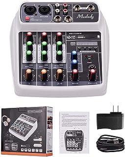 MZGA Muslady Mixer BT MP3 USB Input +48V Phantom Power for Music Recording (Color : White US Plug)