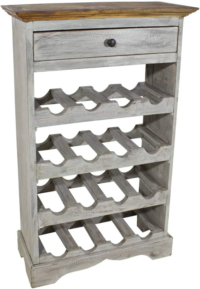 vidaXL Wine Rack 16 Bottles Drawer Wood Reclaimed Oakland Mall We OFFer at cheap prices Holder D Solid