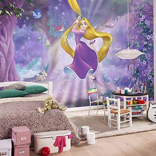 Komar - Disney - Fototapete RAPUNZEL - 368 x 254 cm - Tapete, Wand Dekoration, Prinzessin, Märchenwald, Flynn Ryder - 8-451