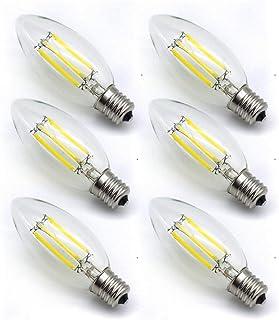 シャンデリア 電球 e17 6W LED 電球 60W70W 形相当660lm(6個入り) 360度全方向発光 6000K昼光色C35 クリアタイプ 蝋燭型 電球