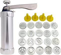 Decdeal 25Pcs Aluminium Alloy Press Machine Biscuit Making Pump Multi Pattern Cookie Biscuits Maker Cookies Mold Extruder ...