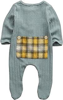 الوليد طفل طفل رضيع الفتيات رومبير منقوشة المرقعة طويلة الأكمام بذلة ملابس ملابس 0-9 متر (Color : Blue, Kid Size : 9M)