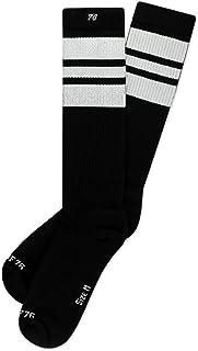 Los white Whites | Calcetines altos retro de rayas | rayas negras, blancas | calcetines unisex estilizados entubados