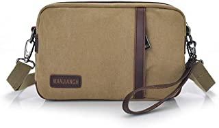 Mens Bag Simple Retro Zipper Waterproof Bag Canvas Messenger Shoulder Bag Color: Khaki High capacity
