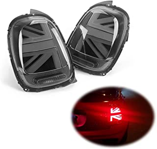 Miniclue 3D Optic Smoked Lens Union Jack UK Flag Design LED Rear Taillights Tail Brake Lamps Assembly For 2014 2015 2016 2017 2018 Mini cooper F55 F56,2pcs