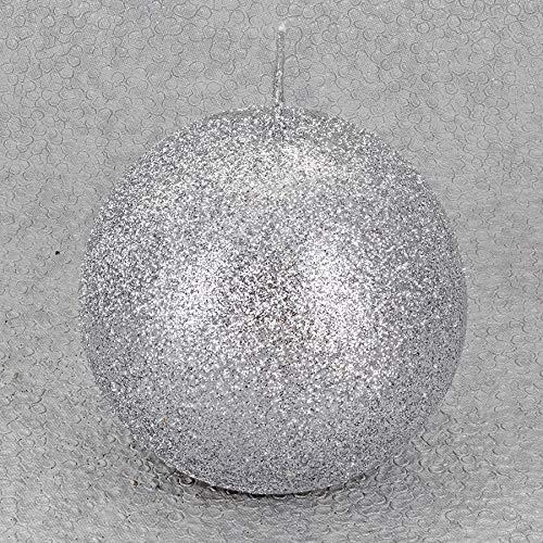 G Decor Velas Plateadas con Purpurina (Bola Plateada pequeña)