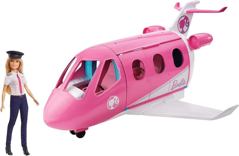 Barbie, aereo dei sogni con pilota, playset con veicolo e bambola bionda inclusa GJB33