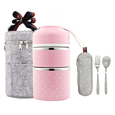Lalifit Stainless Steel Stackable Thermal Lunch...
