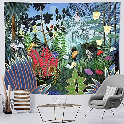 KHKJ Tapiz de Planta Tropical Colgante de Pared Hojas de Palma patrón de Flores Tapiz Bohemio decoración del hogar sábana de Playa Alfombra A2 200x180cm