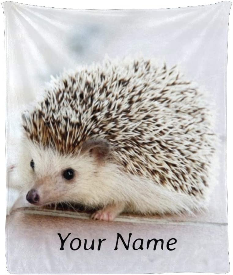 Custom Blanket Ranking TOP2 with Name Text Sale price Cute Animal Personalized Hedgehog