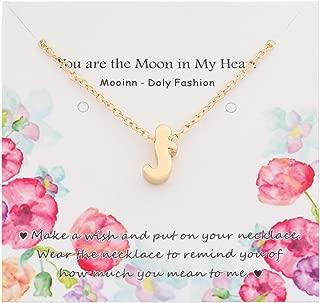 Mooinn Tiny Gold Initial Necklace Handmade Dainty Slide Lowercase A-Z Alphabet Letter Charm Pendant Name Necklace Gift for Women Girls
