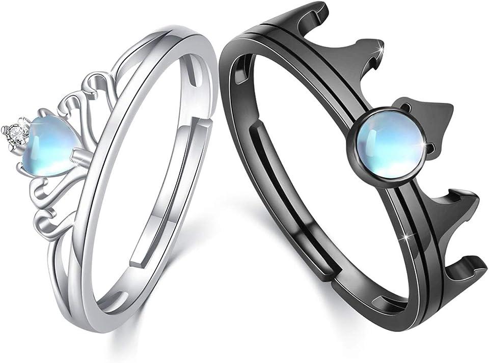 Paar Ringe Set Silber 925 Mondstein Ring Paar Verstellbar Partnerringe für Sie und Ihn Verlobungsringe Paar Valentinstag Geschenke
