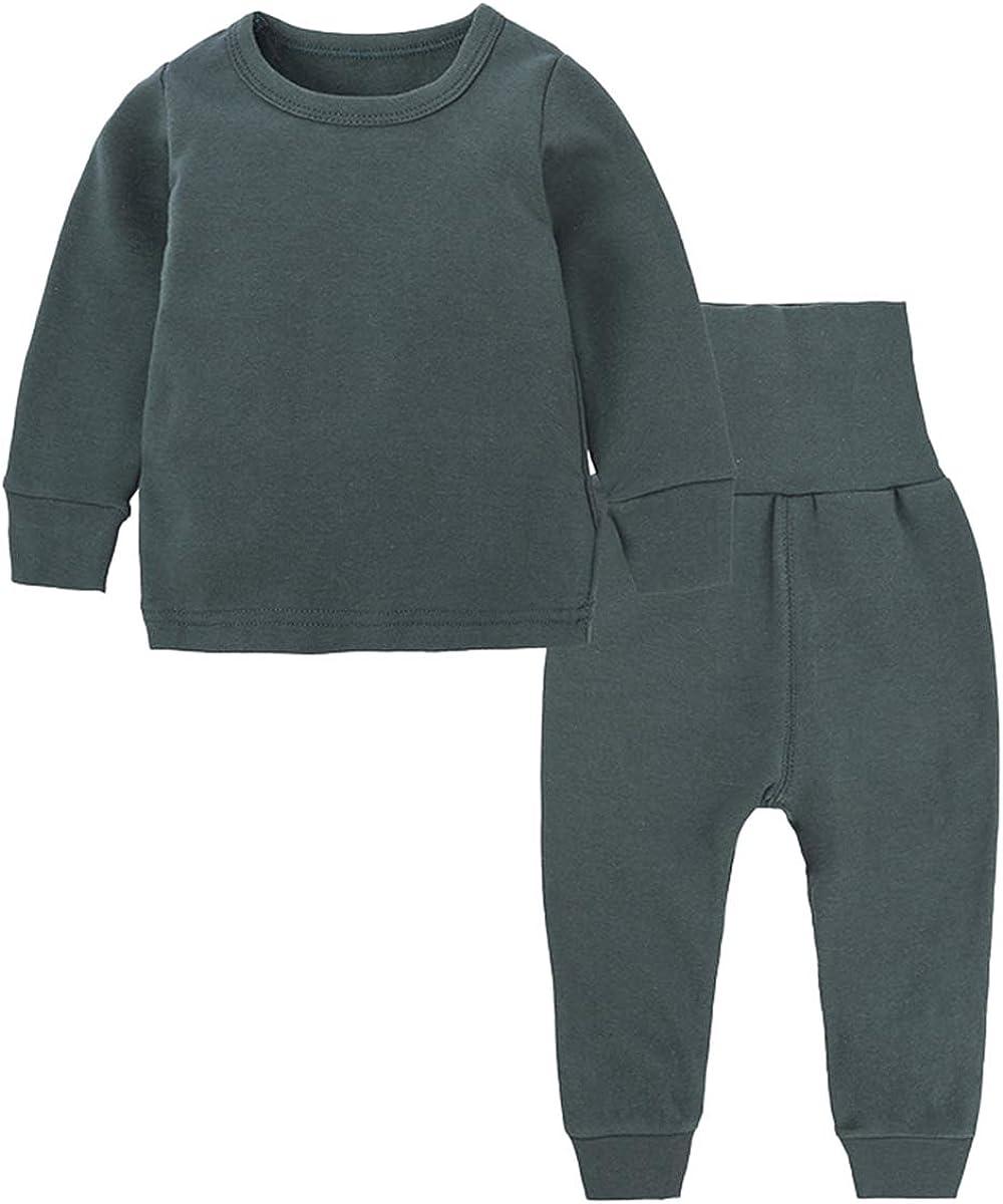 Toddler Boy's Thermal Underwear Set Base Layer Top & Bottom Set, Dark Green, 7-8 Years = Tag 140