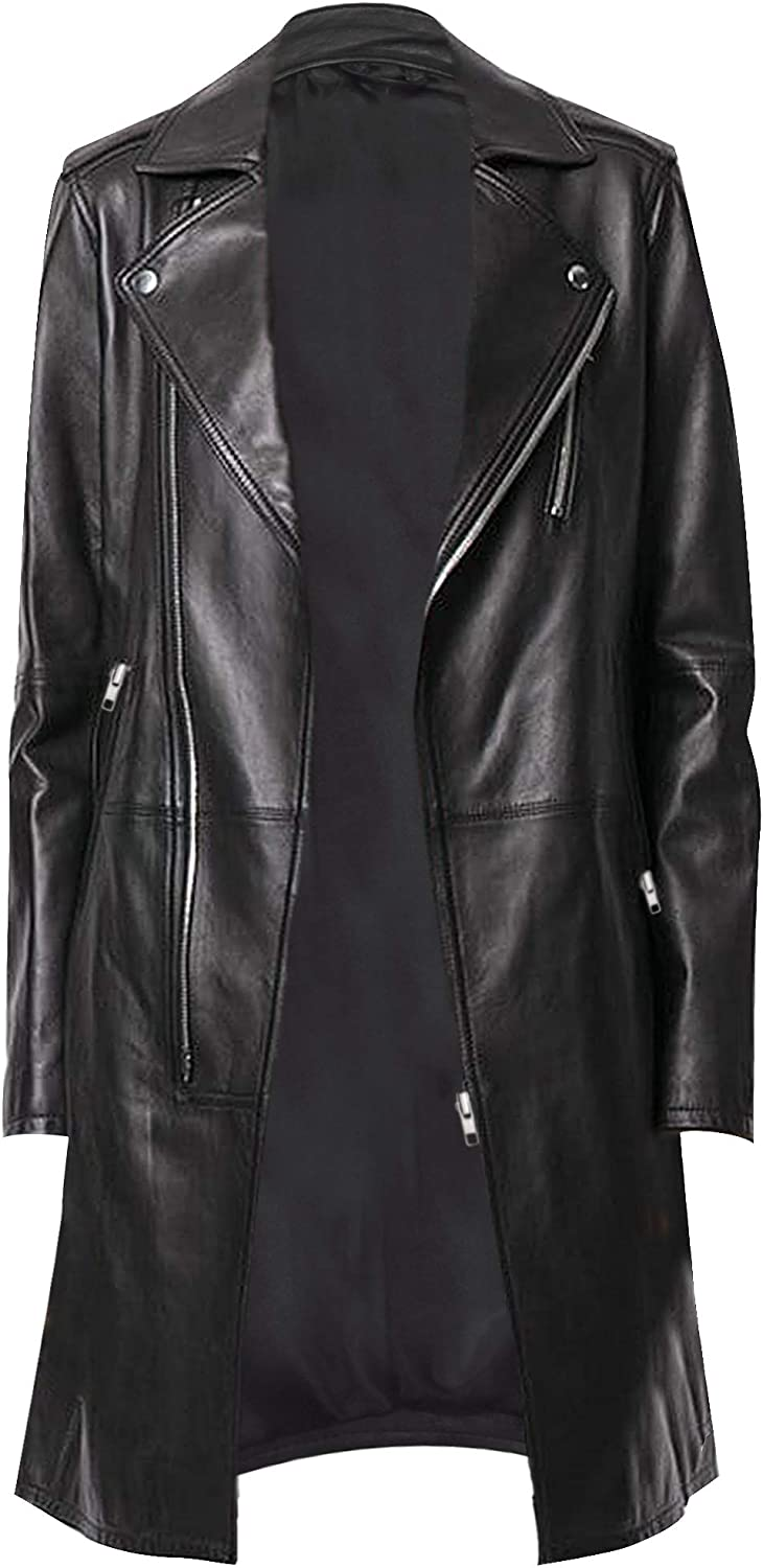 CHICAGO-FASHIONS Womens Slim Fit Lapel Collar Mid Length Leather Trench Coat