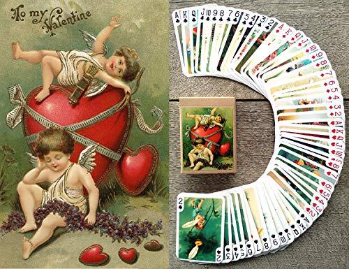 FlonzGift Cupids Kartenspielen (Poker 54 Karten alle Anders) Valendtine's Day Cupids Vintage Retro Classic Greeting Cards