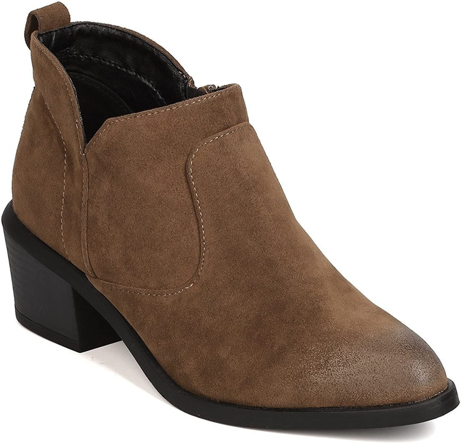 Qupid GK25 Women Faux Suede Pointy Toe Stacked Chunky Heel Bootie - Khaki