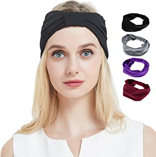 TTzone Wide Headbands, 4PCS, Stretchy Soft Moisture Wicking Hairbands, Fashion Head-wrap for Sports Casual(Multi-Styles)