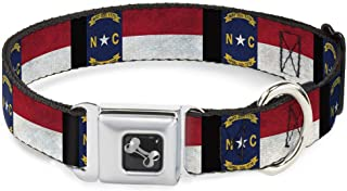 Dog Collar Seatbelt Buckle North Carolina Flag Distressed Black 18 to 32 Inches 1.5 Inch Wide
