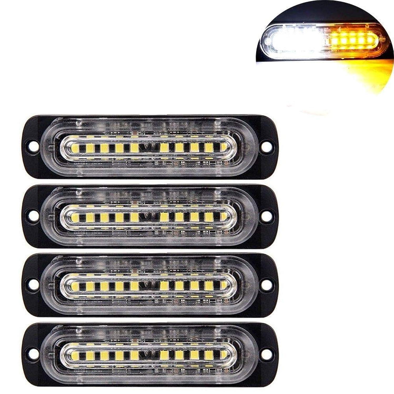 Wllighting 4pcs Ultra Slim 12 LED Chips White & Amber High Intensity Emergency Hazard Warning LED Mini Bar Strobe Light for Truck Car 12V-24V
