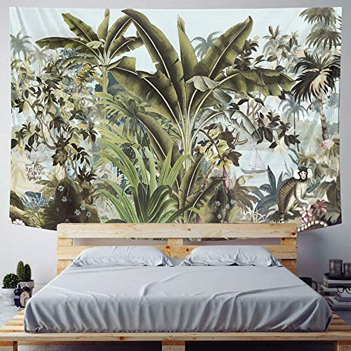 PPOU Tapiz de Planta Tropical Colgante de Pared Hoja de Palma patrón de Flores Tapiz Bohemio Manta Colgante de Pared Tela Colgante A11 130x150cm
