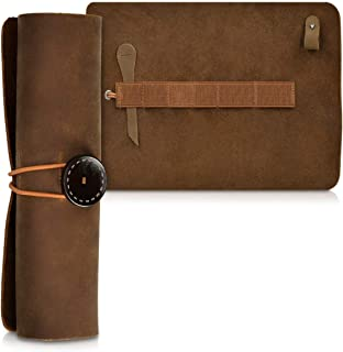 kalibri Genuine Leather Pencil Case - Roll Up Pouch for Pens Pencils Brushes - Vintage Style Pen Wrap & Makeup Holder - Retro Brush Bag in Dark Brown