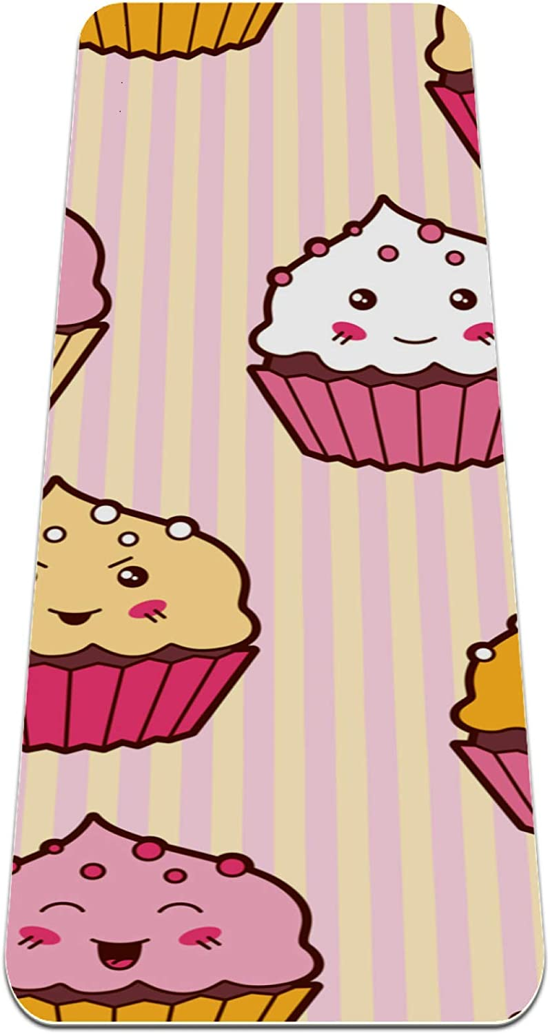 Unicey Cartoon Cute Cupcakes Our shop OFFers the best service Yoga Popular products Mat Mats Slip Non Thick f