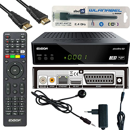 Edision Piccollino S2 Full HD Satelliten-Receiver FTA HDTV DVB-S2 (HDMI, USB 2.0,Scart,Display,CA,LAN) Deutsch vorprammiert inkl.Wlanabel und HDMI Kabel