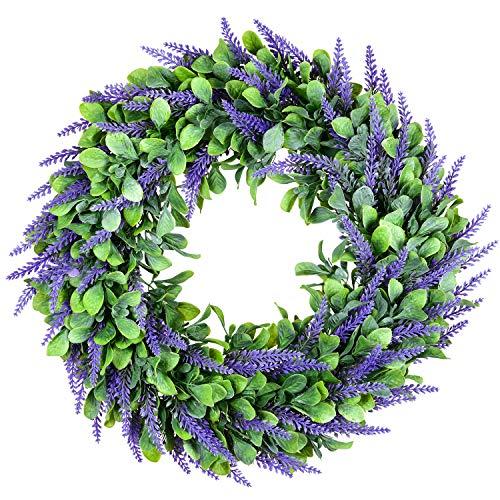 YQing 40.6cm Künstlich Lavendel Kranz, Plastik Blumenkranz für Tür Deko Frühling Grün Kranz Lavendelkranz Perfekt für Haustür Zuhause Hochzeit Decor
