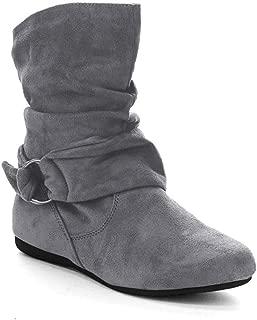 Women's Fashion Calf Flat Heel Side Zipper Slouch Ankle Boots