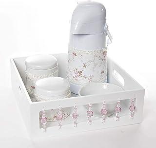 Kit Higiene com Porcelanas e Capa Pedra, Quarto Bebê Menina, Potinho de Mel, Rosa