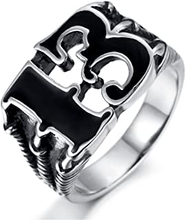 Gothic Mens Stainless Steel Black Gold Numbers Lucky 13 Biker Ring