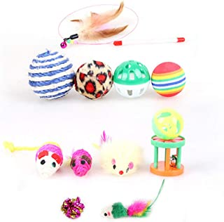 Mumoo Bear Cat Teaser Toy, 12 Pcs Variety Pack Cat Toy Interactive Cat Fishing Toys for Kitty