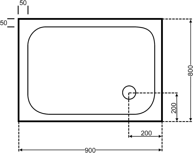 Unbekannt duschwanne 90x80 Rechteck wei 90x80cmx6,5cm, Acryl