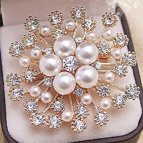 Neaer Broches de flores de cristal con diamantes de imitación para mujeres y hombres, boda, fiesta de novia, ramo redondo, broche transparente, accesorios (color del metal: 1)