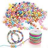RANJIMA 600 perline colorate da infilare con filo da 50 m, multicolore, perline per fai da te per bambini, braccialetti per capelli, gioielli fai da te