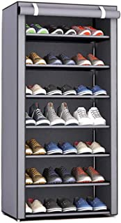 Riipoo Shoe Rack, Simple Assembly Single Row 8-Tier 7-Cube Shoe Tower Rack with Dust-Proof Cover, Space Saving Storage Shelf Organizer Cabinet for Shoes and Others (Silver Gray)