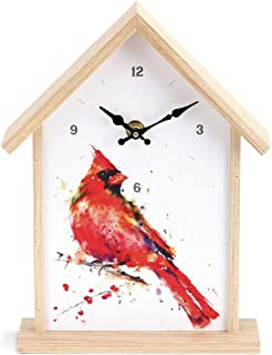 DEMDACO Cardinal Birdhouse Watercolor Red 10 x 7 Wood and Canvas Wall and Shelf Clock