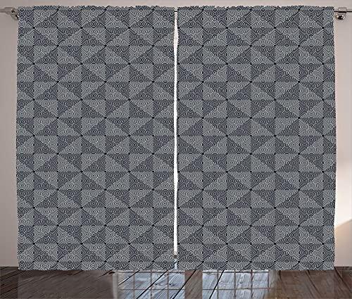 ABAKUHAUS Cortina moderna rústica con círculos en espiral, para salón, banda universal con trabillas y ganchos, 280 x 245 cm, color azul oscuro, gris y blanco