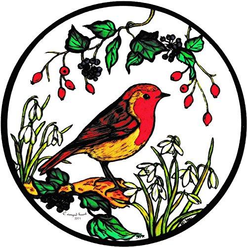Winged Heart Buntglas-Fensterdeko, Motiv: Rotkelchen und Schneeglöckchen, selbsthaftend