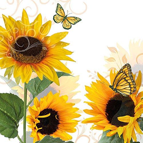 Lot de 20 serviettes de table en forme de tournesol vintage avec fleurs de jardin, automne, été, papillon, 33 x 33 cm