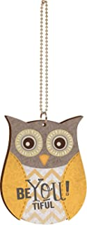 P. Graham Dunn Be-You-Tiful Yellow Gray Floral Chevron Owl Wood Car Charm