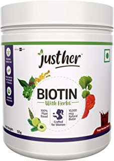 JustHer Biotin with Herbs,10000 mcg Natural Biotin, Plant Based Biotin Supplement for Hair Growth, Vegan; with 7 Unique He...