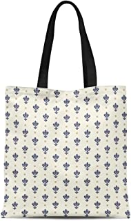 Semtomn Cotton Canvas Tote Bag French Pattern of Arms Florence Tuscany Lily Florentine Floral Reusable Shoulder Grocery Shopping Bags Handbag Printed