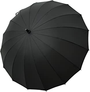 47 Inch Auto Open Straight Strong Durable Umbrella, 190T Fiber Waterproof Windproof Sport Umbrella 16 Ribs